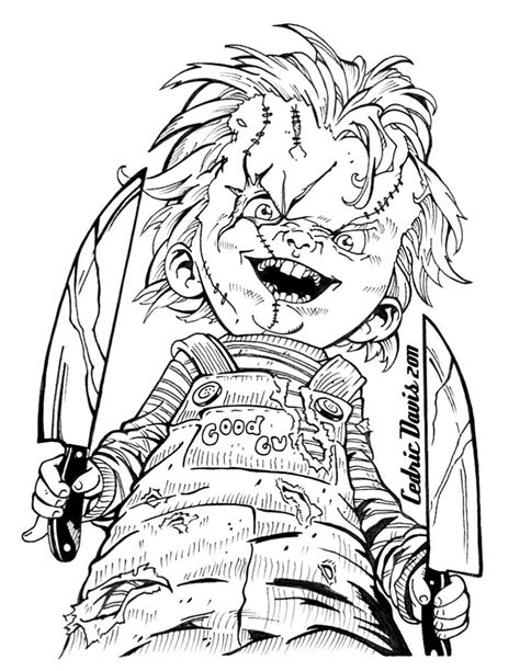 Chucky Drawings | Halloween coloring pages, Scary coloring