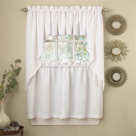 white solid opaque ribcord kitchen curtains choice