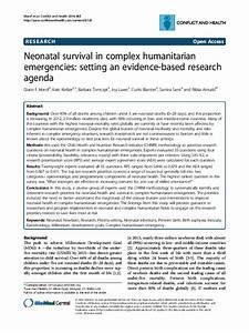 Neonatal Survival in Complex Humanitarian Emergencies ...