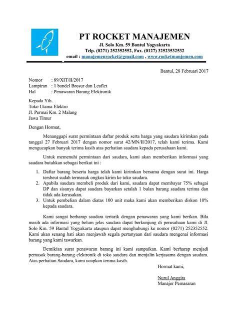 Contoh Penawaran Produk Docx by Contoh Surat Pesanan Bahasa Inggris Bentuk Block Style