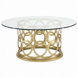 antonia hollywood regency round gold metal coffee table With gold brass coffee table