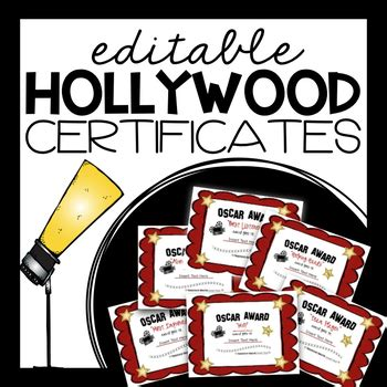 editable certificates awards hollywood themed