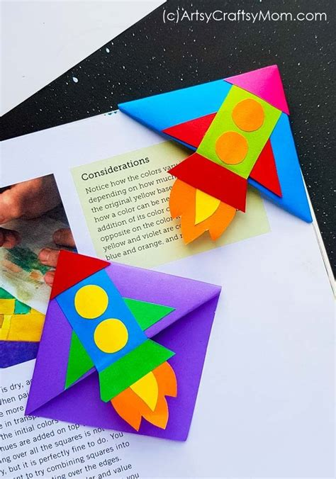 diy rocket corner bookmark space craft  kids