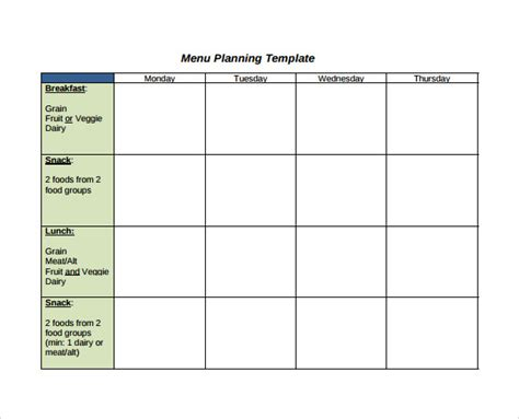 menu planning template 10 sle menu planning templates to sle templates