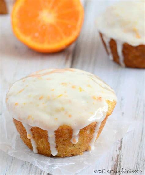 orange banana muffins  sour cream glaze creations