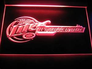 Miller Lite Guitar Logo Beer Bar Pub Store Light Sign Neon