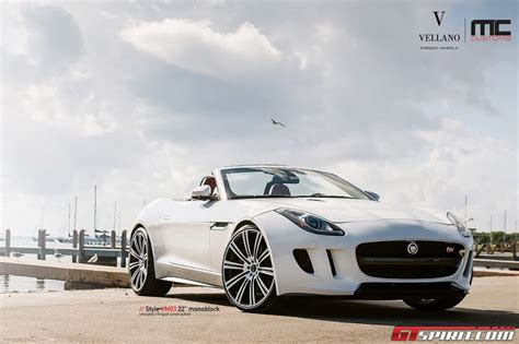White Jaguar F-type Lowered On 22-inch Vellano Wheels