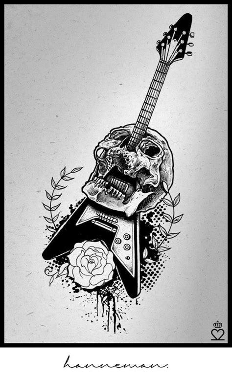jeff hanneman, guitar, skull tattoo, drawing | Music