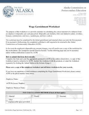 Fillable Online Wage Garnishment Worksheet  Alaska Commission On  Fax Email Print Pdffiller