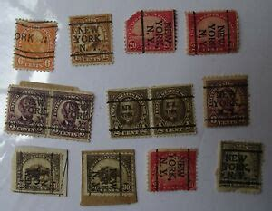 13 old U.S. Postage Stamps with NEW YORK NY overprints or ...