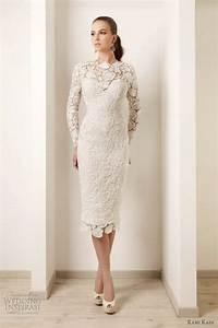 2015 wedding dresses ivory lace long sleeves tea length With short sheath wedding dresses