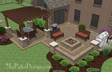Patio Design Plans by Large Backyard Patio Design With Pergola Built In