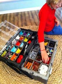 Use a tool chest as portable lego organizer. The removable containers