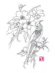 Flowers and Bird Drawing