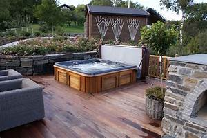 arctic spas hot tub sunk in deck garden With whirlpool garten mit beton balkon abdichten