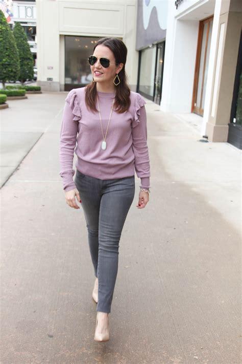 winter trend ruffle sweaters lady  violetlady  violet