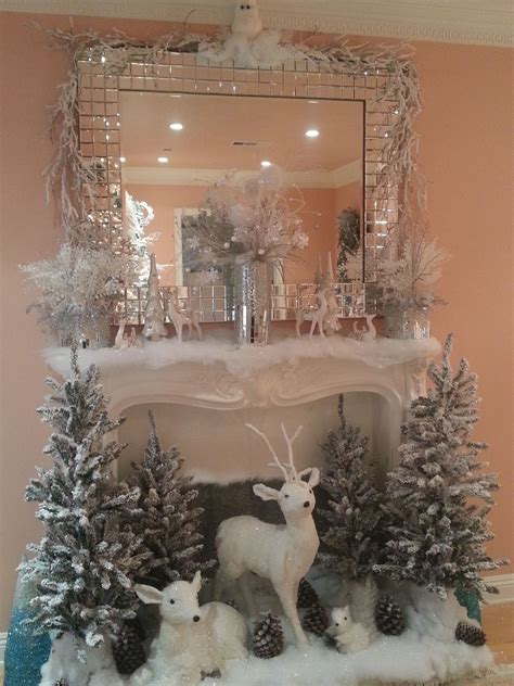 christmas fireplace decoration ideas white christmas