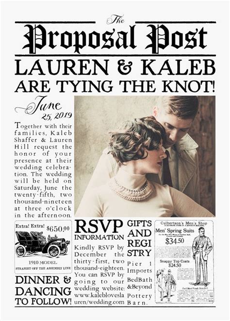 vintage  inspired newspaper wedding invitation suite