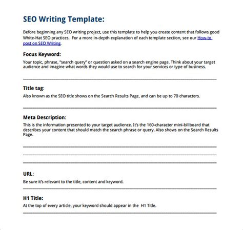 what is seo writing sle writing template 9 free documents in pdf
