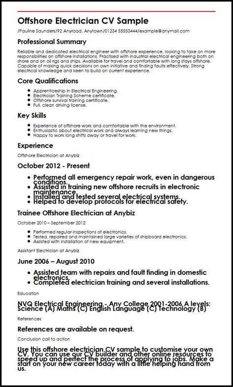 Electronic Formatted Resume Definition by 16 Electrician Cv Format Formsresume
