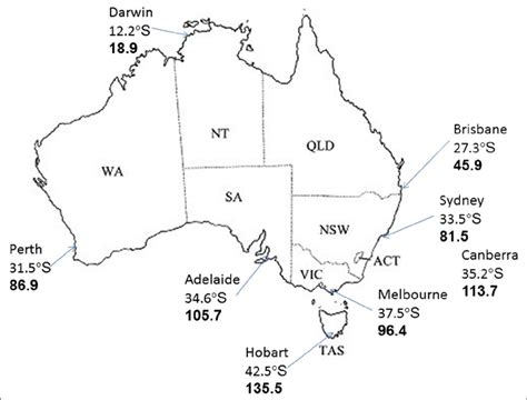 map  australia showing states territories capital
