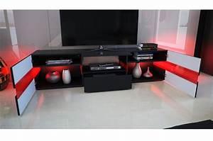 Meuble Tv Led Noir : meuble tv design noir laqu clairage led pour salon ~ Teatrodelosmanantiales.com Idées de Décoration