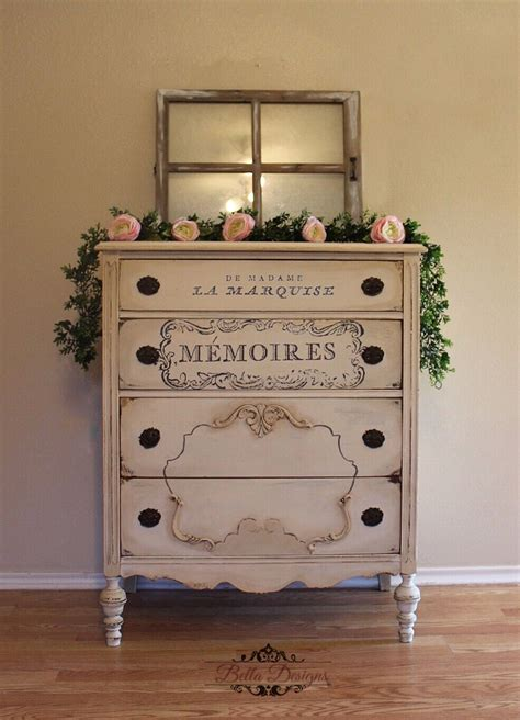 antique dresser painted  soft white chalk paint brown