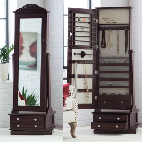 jewelry armoire with mirror belham living swivel cheval mirror jewelry armoire