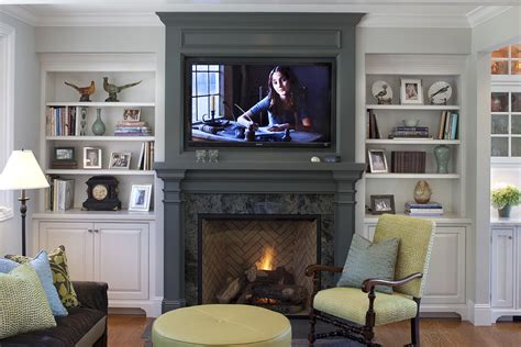 fireplace mantel ideas family room traditional with built
