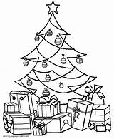 Coloring Christmas Presents Tree Popular sketch template