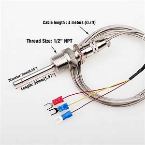 Rtd Pt100 Temperature Sensor Thermocouple 1  2  3  4m Cable