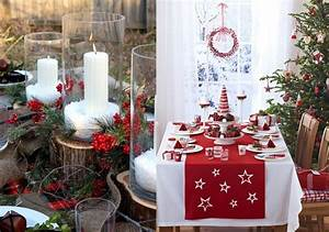 Idee Deco De Table Noel : deco table noel rouge blanc idees accueil design et mobilier ~ Zukunftsfamilie.com Idées de Décoration