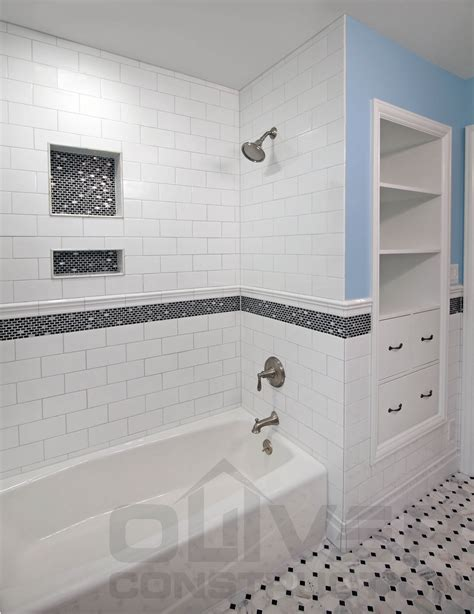 shower tub subway tile ideas bathroom ideas gray marble herringbone shower niche marmi Shower Tub Subway Tile Ideas