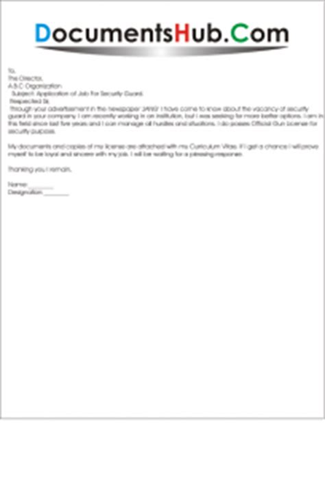 sample application letter   post  security guard