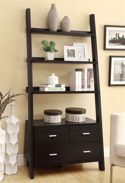 Leaning Bookcase With Drawers leaning bookshelf with drawers home design ideas