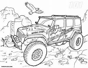 Powerful Golden Eagle Jeep Coloring Pages Picolour