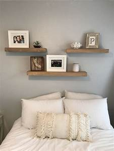 3, Shelves, Above, Bed, White, And, Grey, Bedroom, Fun, Room, Makeover