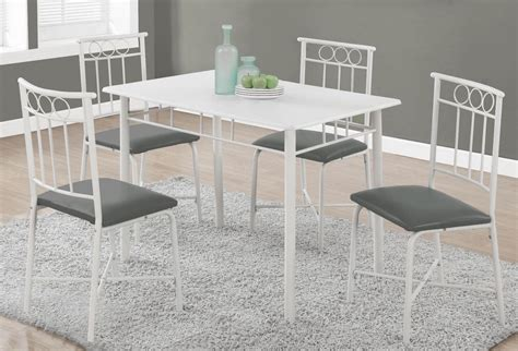 1019 white metal 5 piece dining room 1019 monarch