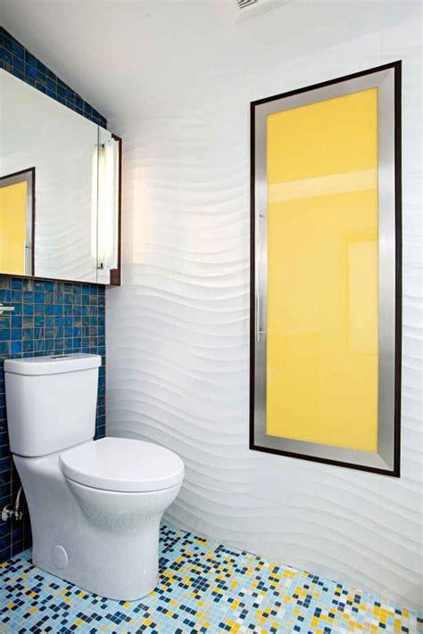 colorful contemporary bathroom  textured wavy walls