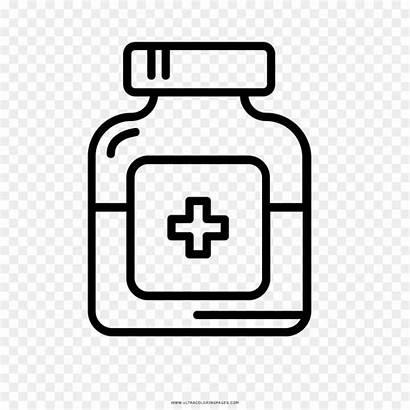 Medicine Bottle Medicina Dibujo Coloring Drawing Clip