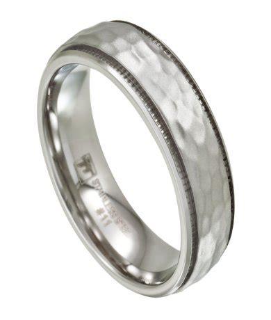hammered effect wedding ring men s stainless steel wedding band artisan hammered