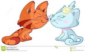 Cartoon Two Cats Kissing