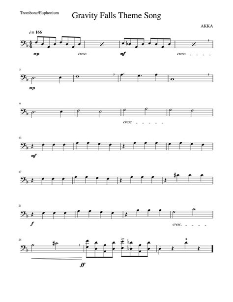 You can freely download the pdf sheet music scores and print out the scores without any obligations! Gravity Falls Theme -Trombone sheet music for Trombone download free in PDF or MIDI