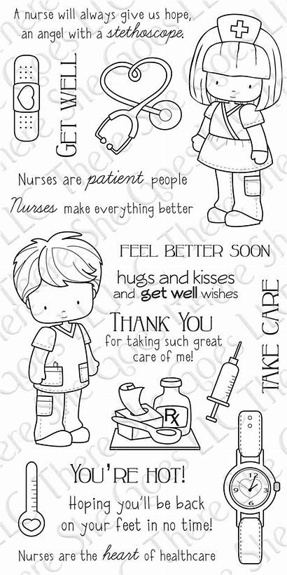 Well Stamps Cards Nurse Stamp Clear Sentiments
