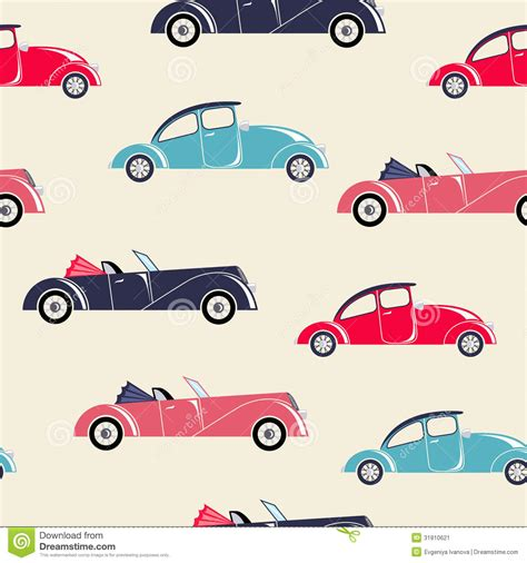 Retro Auto's Naadloos Patroon Stock Illustratie