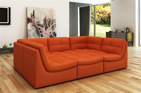 divani casa  modern orange bonded leather sectional sofa