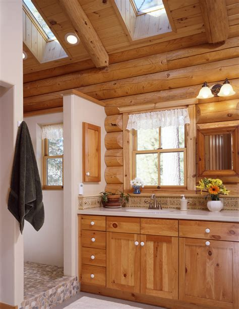 log home bathrooms real log style