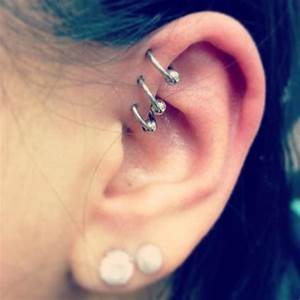 Triple Forward Helix Piercing Information guide with images