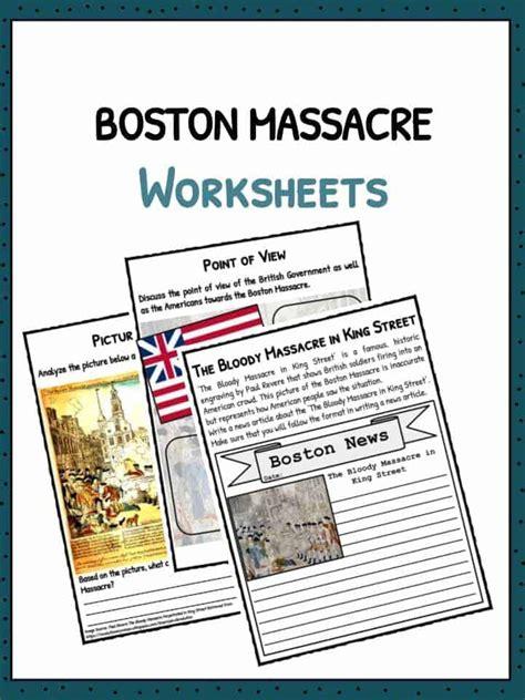 boston massacre facts information worksheets  kids