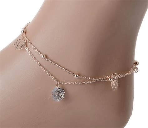 sexy crystal double layer gold ankle chain anklet